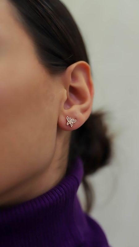 - Mini Rose Kelebek Küpe