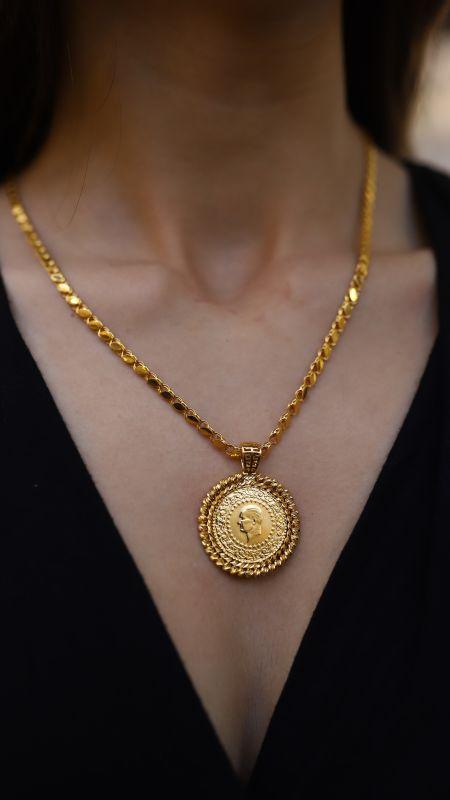 - Dorica Çerçeveli Yarım Altın ve Pullu Zincir